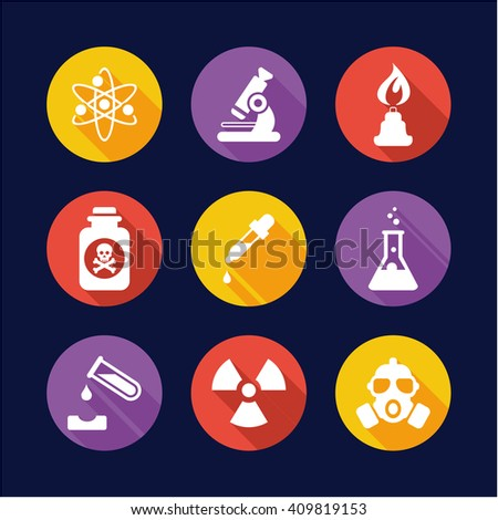 Chemistry Icons Flat Design Circle - stock vector