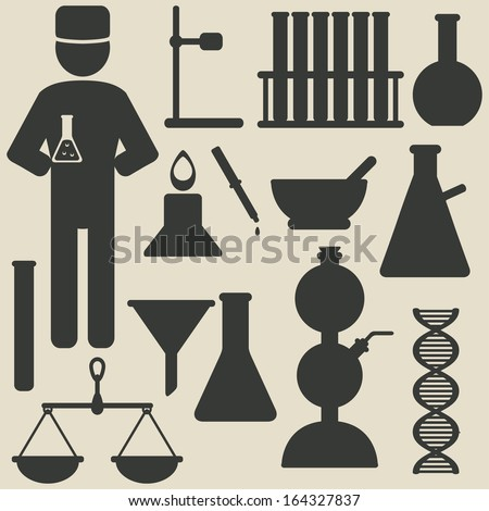 chemistry icons - vector illustration - stock vector
