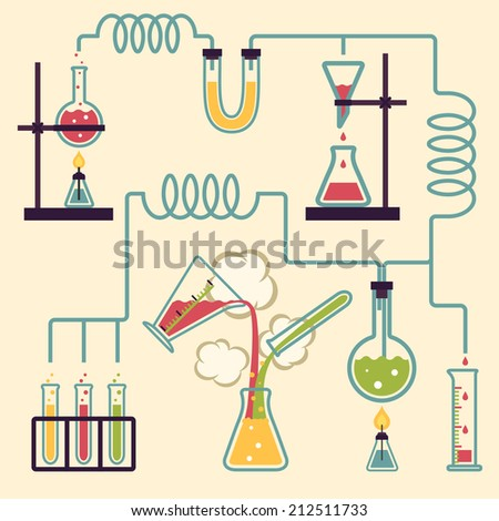 Chemistry Laboratory Infographic. Experiment in a chemistry lab. Vector illustration - stock vector