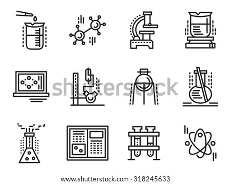 Chemistry objects, symbols for education. Simple line vector icons set. Test-tubes, bulbs, burners, reaction sign, lab equipment. Web design elements for business. - stock vector