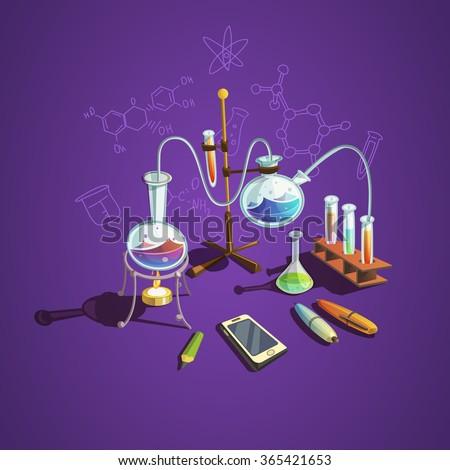 Chemistry science concept with retro cartoon scientific lab items vector illustration - stock vector