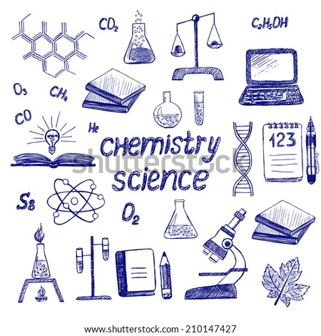Chemistry. Science. Set Sketchy doodles with Lettering and Hand Drawing school items. Vector Illustration Design Elements - stock vector