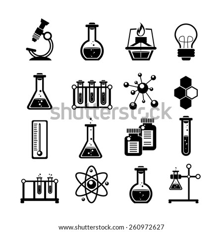 Chemistry scientific research icons collection with molecule atom structure symbol and test tubes black abstract vector illustration - stock vector