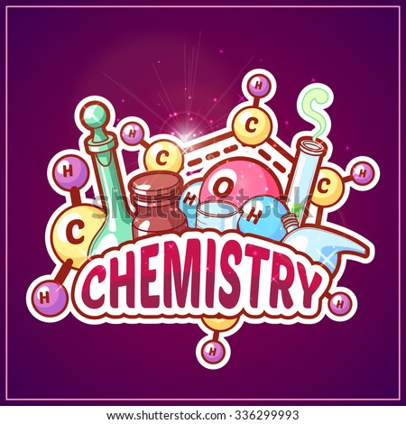 Chemistry title with chemical elements and flasks on a dark background for poster design. Vector clip-art illustration - stock vector
