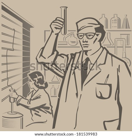 Chemists conducting research in the laboratory retro illustration - stock vector