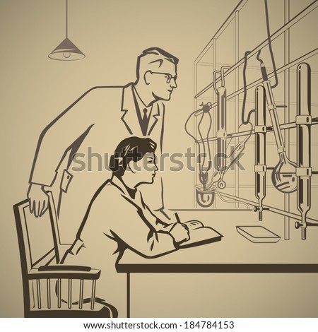 Chemists waiting for results of research in the laboratory retro illustration - stock vector
