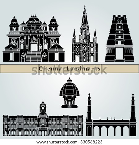 Chennai landmarks and monuments isolated on blue background in editable vector file - stock vector