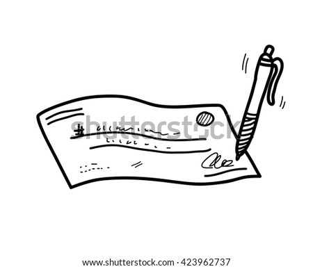 Cheque/Check Doodle, a hand drawn vector doodle illustration of a signed cheque/check. - stock vector