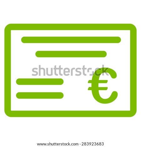 Cheque from BiColor Euro Banking Icon Set. Vector style: flat, eco green symbol, rounded angles, white background. - stock vector