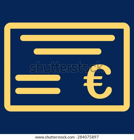 Cheque from BiColor Euro Banking Icon Set. Vector style: flat, yellow symbol, rounded angles, blue background. - stock vector