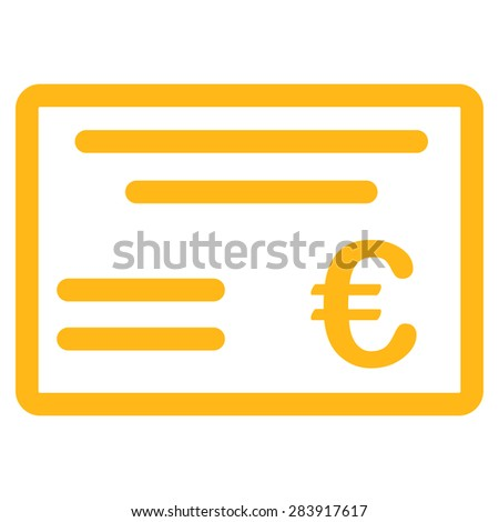 Cheque from BiColor Euro Banking Icon Set. Vector style: flat, yellow symbol, rounded angles, white background. - stock vector