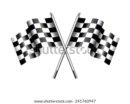 Chequered Flags Motor Racing - Two black and white crossed Racing Checked Flags - stock vector