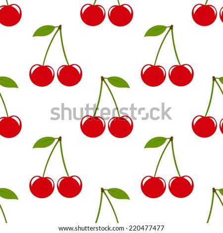 Cherries seamless pattern. Vector illustration - stock vector