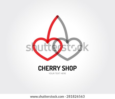 Cherry and hearts. Abstract vector logo design elements. Arrows, labels, symbols. Vector illustration - stock vector