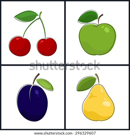 Cherry, Apple, Plum, Pear , Isolated on White Background , Set of Fruit Icons , Vector Illustration - stock vector
