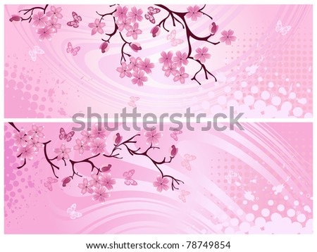Cherry blossom, banner. Vector illustration - stock vector
