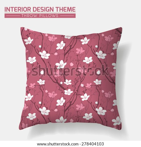 Cherry Blossom Decorative Throw Pillow design template. Creative sofa cushion. Original seamless floral seamless pattern is complete, masked. Modern interior design element. Vector is layered editable - stock vector
