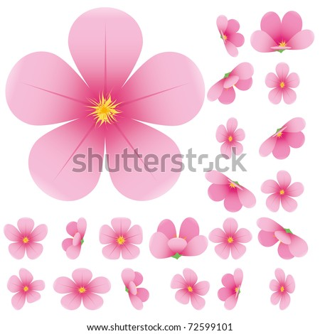 Cherry blossom, flowers of sakura, set, pink, flowers collection,vector illustration - stock vector