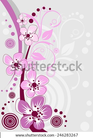 Cherry blossom, sakura flowers. Abstract background - stock vector