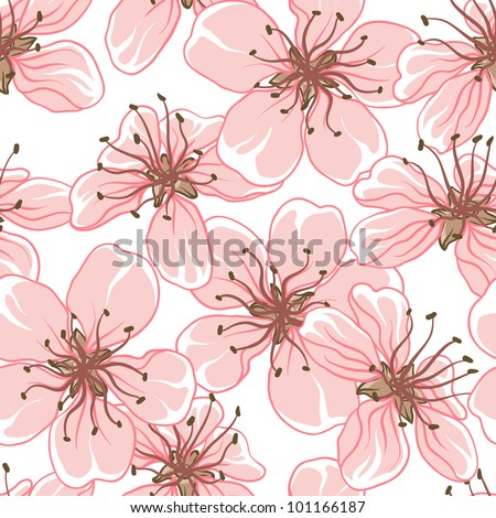 Cherry blossom vector background. (Seamless flowers pattern) - stock vector