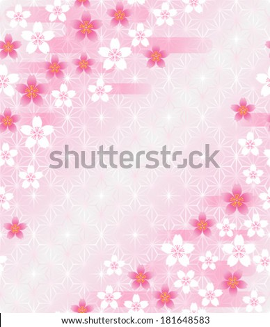 Cherry blossoms on Japanese traditional pattern - stock vector