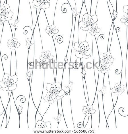 Cherry branch in blossom. Seamless texture. - stock vector