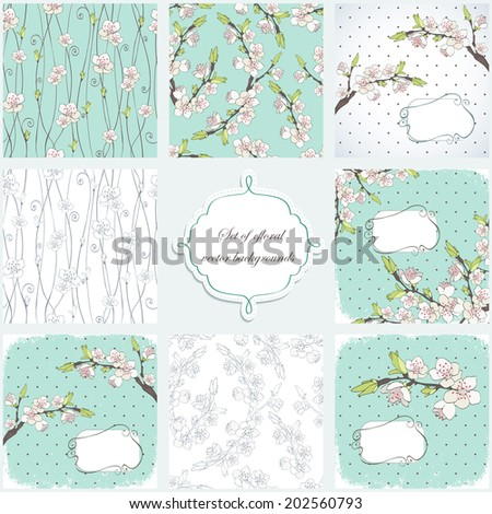 Cherry branch in blossom. Set of four vector backgrounds. - stock vector