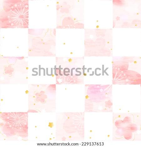Cherry checkered  Japanese style - stock vector