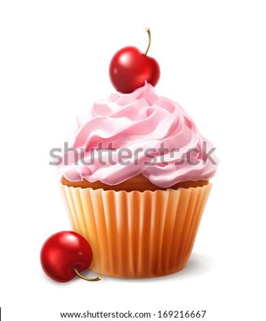 Cherry cupcake, vector - stock vector