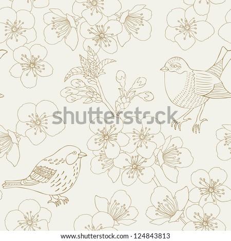 cherry flower seamless pattern - stock vector