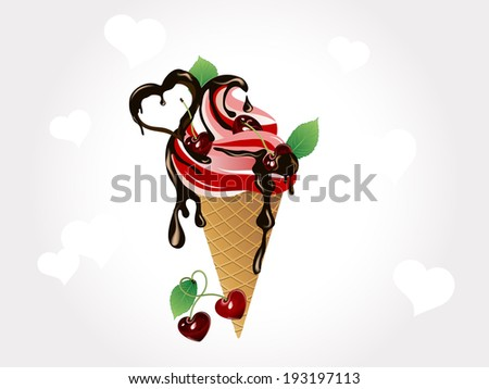 Cherry ice cream in cone with chocolate - stock vector