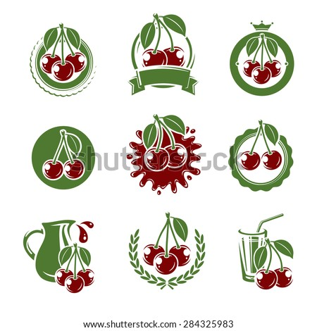Cherry label and icons set. Vector - stock vector