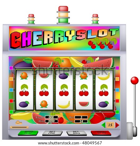 Cherry slot machine vector illustration with various types of fruit - stock vector