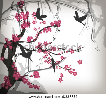 Cherry tree with birds - stock vector