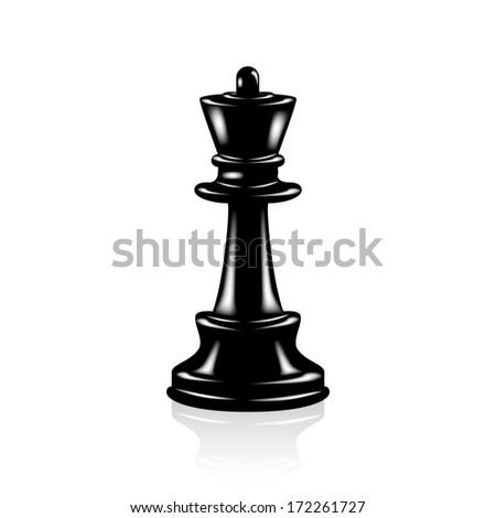 Chess Black Queen - stock vector