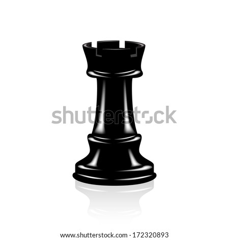 Chess Black rook - stock vector