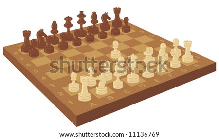 Chess board with the first move - stock vector