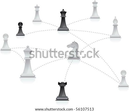 Chess figures connected in a network - stock vector