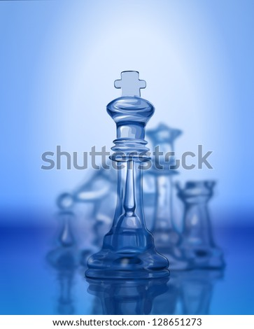 Chess figures, led by King on a blue background. Vector drawing / Eps10 - stock vector