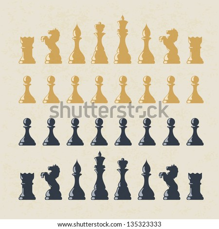 Chess figures set. Vector, EPS10 - stock vector