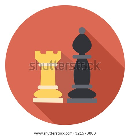 chess flat icon in circle - stock vector