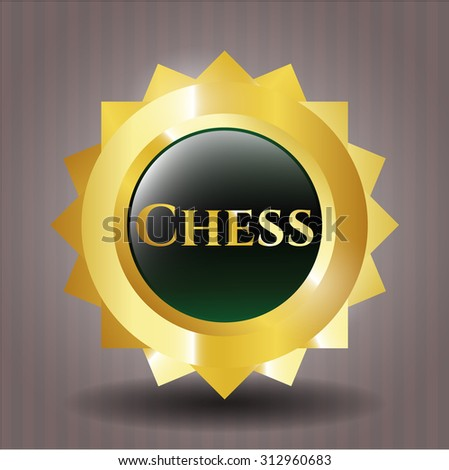 Chess gold badge - stock vector