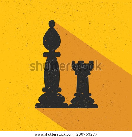 Chess icon design on yellow background,flat design,clean vector - stock vector