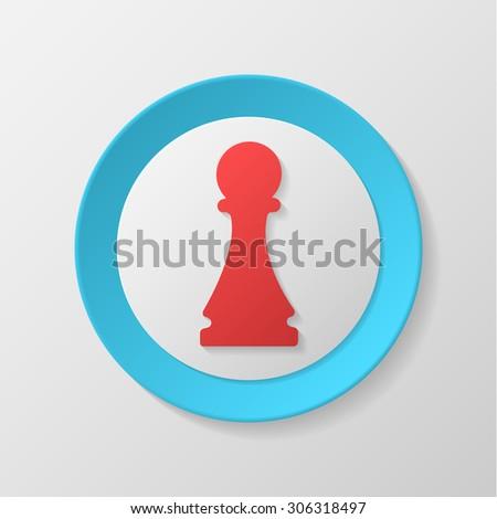 Chess icon. Pawn convex icon. - stock vector