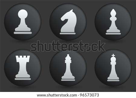 Chess Icons on Black Internet Button Collection Original Illustration - stock vector