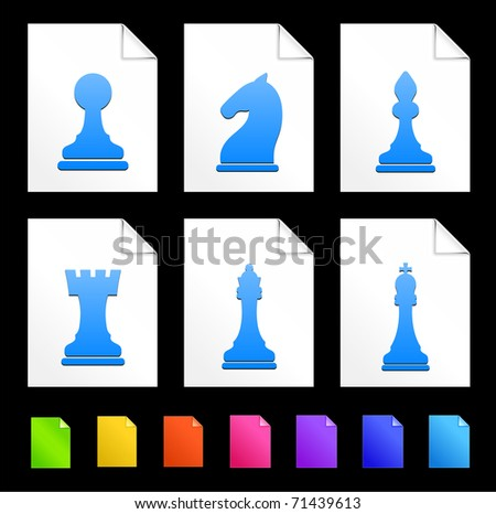 Chess Icons on Colorful Paper Document Collection Original Illustration - stock vector