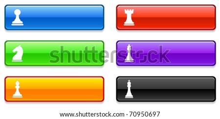 Chess Icons on Long Button Collection Original Illustration - stock vector