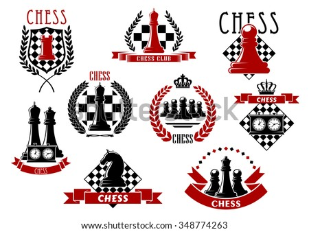 Chess icons with red and black kings, queens, rook, knight, pawns chessman and clocks on chessboard and checkered shield. Adorned by laurel wreaths, ribbon banners and crowns  - stock vector