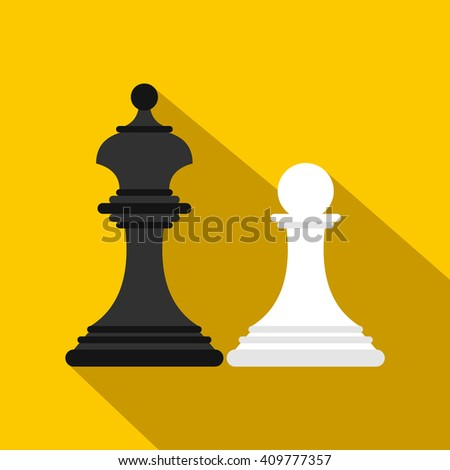 Chess king and chess pawn icon, flat style - stock vector