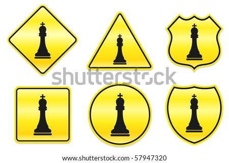Chess King Icon on Yellow Designs Original Illustration - stock vector